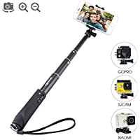 Bluetooth Selfie Stick, BlitzWolf Built-in Remote Shutter Self-Portrait Extendable Wireless Monopod with Zoom and Camera Switching Button for iPhone SE/7/7 Plus/6S Plus/6S/6/5S/5C/5, Samsung Galaxy S5/S6/S6 Edge, Note4/5, LG G2/3, HTC, Sony, Moto and 3.5''-6'' Smartphone (Black)