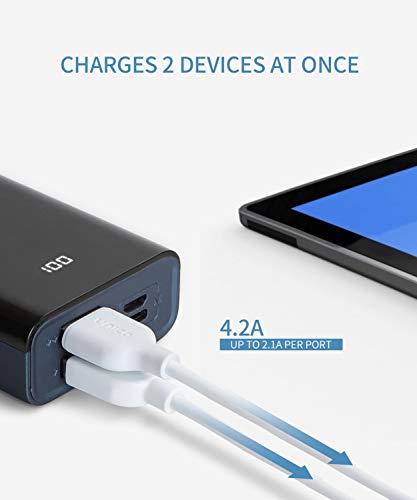 Unico -  Power Bank,  Batería Externa 10000 mAh,  Pantalla Digital LCD. Ultra Compacta y de Tamaño Mini,  2 Conectores USB,  Micro- USB y USB- C,  Color Negro y Azul