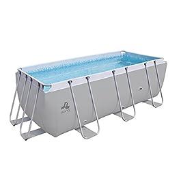 Jilong Pools Piscina Rettangolare con Struttura, 8870 Litri, Grigio, 400x207x122 cm