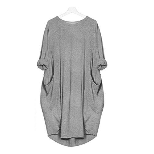 Damen Kleider,Sannysis Damen Abendkleid Elegant Cocktailkleid Damen LoseKleid Damen Rundhalsausschnitt Casual Long Tops Kleid Plus Größe (S, Grau)
