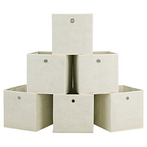 SONGMICS 6 Stück faltbare aufbewahrungsbox faltbox mit Fingerloch 30 x 30 x 30 cm beige RFB02M-3 (Stoff-box)