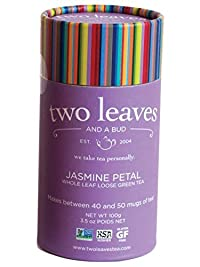Two Leaves and a Bud Jasmine Petal Loose Tea Cylinder, 3.5 Ounce Packages