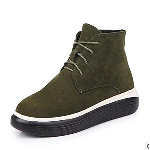 HSXZ Scarpe donna pu Autunno Inverno Comfort stivali Flat Round Toe stivaletti/stivaletti di abbigliamento casual vino Army green nero Army Green