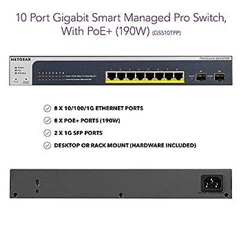 NETGEAR 10-Port Gigabit Ethernet Smart Managed Pro PoE Switch (GS510TPP) - with 8 x PoE+ @ 190W, 2 x 1G SFP, Desktop/Rackmount, and ProSAFE Lifetime Protection