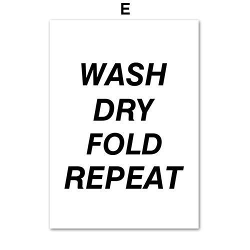 XWArtpic Waschküche Waschmaschine Schwarz Weiß Wandkunst Leinwand Malerei Nordic Poster Und Drucke Wandbilder Für Wohnzimmer Decor E 40 * 50 cm