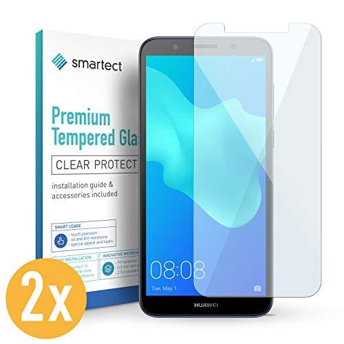 SmarTect 2X Protector de Pantalla de Cristal Templado para Huawei Y5 2018 Lámina Protectora Ultrafina de 0,3mm | Vidrio Robusto con Dureza 9H y Antihuellas Dactilares