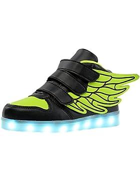 [Gesponsert]Aidonger Unisex Kinder LED Schuhe 7 Farbe Farbwechsel Turnschuhe USB Aufladen LED Sneaker Leuchtend Schuhe