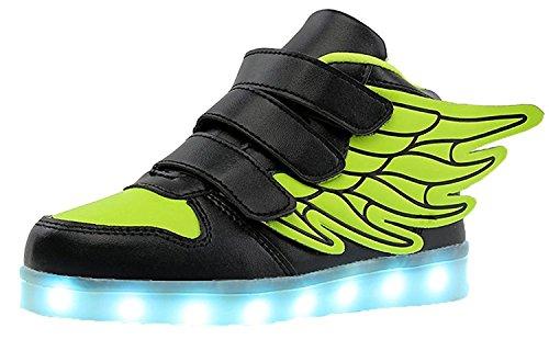 Aidonger unisex bambini scarpe sportiva led lampeggiante usb 7 colori scarpe da corsa con ali per ragazza e ragazzo eu25-eu37 (eu25, verde)