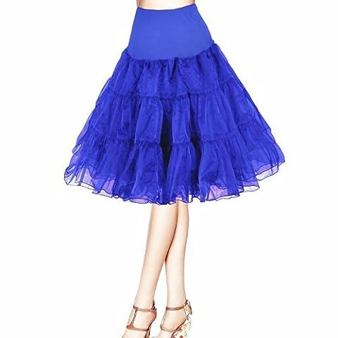 Honeystore Damen's 50s Rock'n'Roll Ballet Petticoat Abschlussball Party Halloween Kostüme Tutu Rock König Blau Small