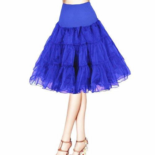 Honeystore Damen's 50s Rock'n'Roll Ballet Petticoat Abschlussball Party Halloween Kostüme Tutu Rock König Blau (Kostüme Rocknroll König)