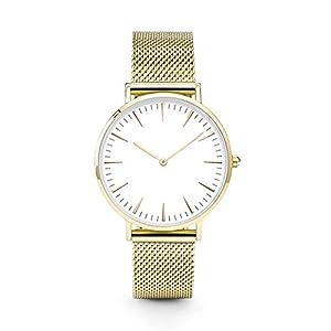 Armbanduhr Damen Ronamick Luxus Frauen Männer Edelstahl Uhr Analoge Quarz Armband Armbanduhren Neu Armbanduhr Armband Uhr Uhren (Gold)