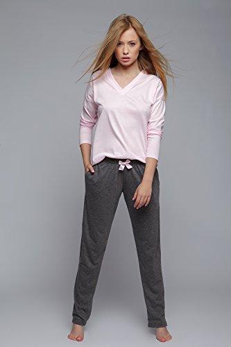 Sensis - Ensemble de pyjama - Manches Longues - Femme Rosa mit langarm Shirt