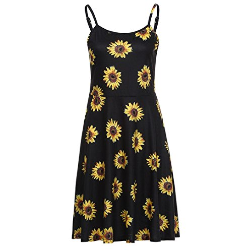 ESAILQ Dress, Womens Sleeveless Adjustable Strappy Floral Printed Casual Beachwear