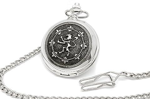 Personalised Full Hunter Skeleton Pocket Watch with Rampant Lion of Scotland Design, Engraved