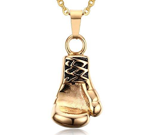 Vnox Acciaio inossidabile guantoni da boxe di gioielli Collana pendente Punk Rock,Gold Chain libero