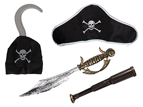 �m Outfit Set 4-teilig Fernglas Hakenhand Hut Säbel von ALSINO P488001 (Piraten Hut Für Kinder)