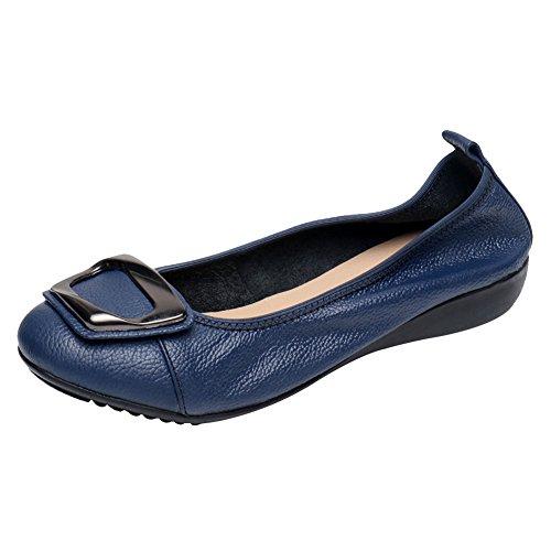 Jamron Mujer Piel Genuina Comodidad Zapatos Suela Blanda Bailarinas Talón de Cuña Baja Pantuflas Azul...