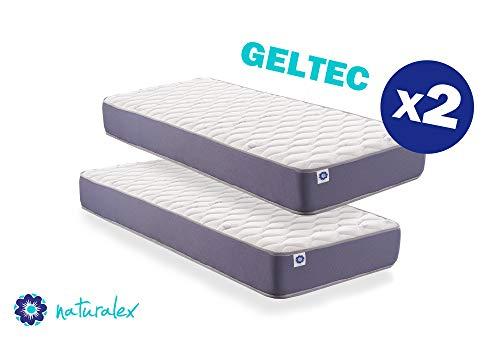 Naturalex – geltec – materasso memory ergonomico con lattice e microcapsule rinfrescanti – reversibile anallergico e ventilato, altezza 18cm - confezione 2 materassi 80x190 cm