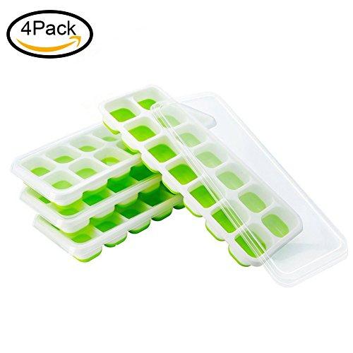 lform, DIY Silikon-Eiswürfelform, LFGB Zertifiziert, Umwelt und Gesundheit Kunststoff, 14-fach Eiswürfel, 4er Pack, Grün (Kunststoff-eiswürfel Sicher)