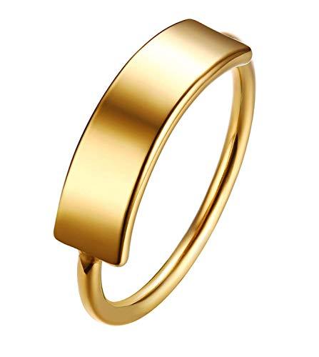 XIABME Edelstahl Hoch Frauen polieren Modernes Gold überzogenen Plain Personalisieren Siegelringe