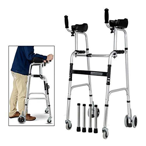 Ftaosh Gehhilfe Auf Rädern Mit Armlehne, Klappbarem Gehgestell Aus Aluminium, Medizinische 4-Rad-Gehhilfe Mit Einstellbarer Mobilitätshilfe Mit Ellbogenstütze,A
