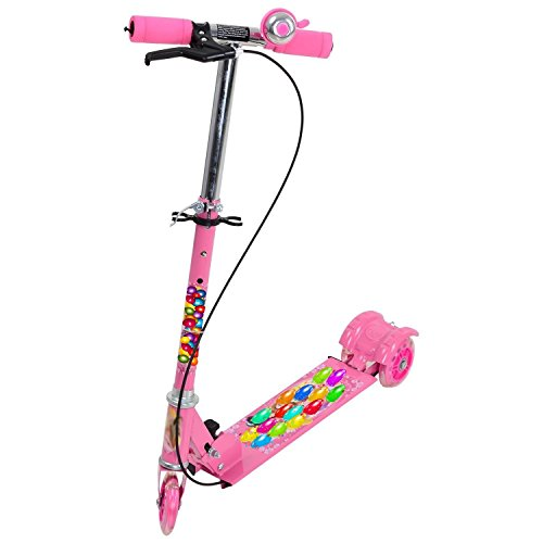 Kids Foldable 3 Wheeler Cycle or Scooter Height Adjustable with Hand break and Bell (Pink)