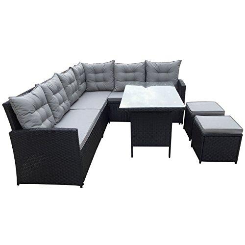 SVITA Poly Rattan Ecksofa Rattan-Lounge Gartenmöbel-Set - 2