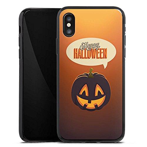 Apple iPhone X Silikon Hülle Case Schutzhülle Halloween Kürbis Herbst Silikon Case schwarz