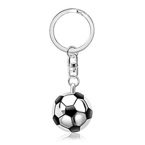 Freessom Porte Clé/Clef Homme Garcon Football Ballon de Foot 3D Demi-Rond Anneau Personnalisé Drole Metal Pendentif Original Accessoire de Sac Voiture Pas Cher Cadeau Ideal (Argente1)