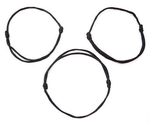 3 pulseras color negro con cordón, amuleto, cábala, hechas a mano, para tener suerte y éxito