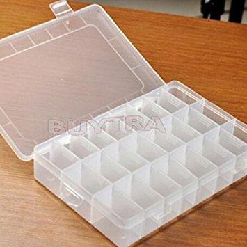 Primetraders New Praktische Verstellbare 24fach aus Kunststoff Aufbewahrungsbox Fall Bead Ringe Schmuck Display Organizer (Kunststoff-speicher-organisatoren)