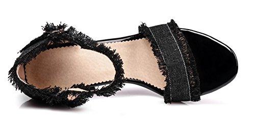 Aisun Femme Mode Bleu Jean Bout Ouvert Sandales Noir