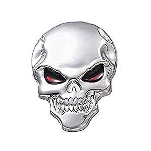 ETGtek Argento di scheletro osseo decalcomania del motociclo 3d metallo Emblem Sticker Badge