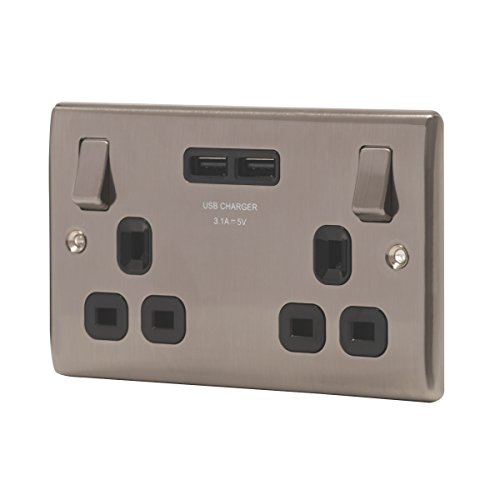British General 13A 2G SP Schalter + 3.1A 2G USB gebürstet Iridium