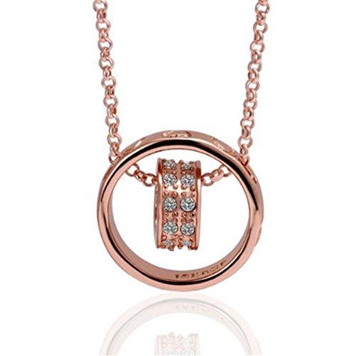 Sunnywill Crystal-Kette Strass Halskette Liebe Herz Ring Anhänger Geschenk Rose Gold für Frauen Mädchen Damen (Strass-kreuz-snap)