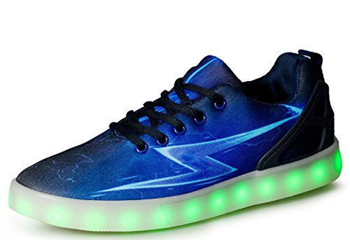 CSDM Couples Sports Casual Board Chaussures Fashion Lights Chaussures Men And Women Nightclubs Blue