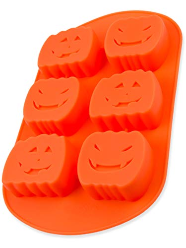 Silikonform mit Kürbis, 6 gruslige Kürbisse, Backform für Muffins, Brownies, Cupcake, riesige Eiswürfel, Bowle, Halloween, Kuchen, Pudding, Pumpkin, Schokolade, Seife, Deko, Farbe: Orange, BlueFox