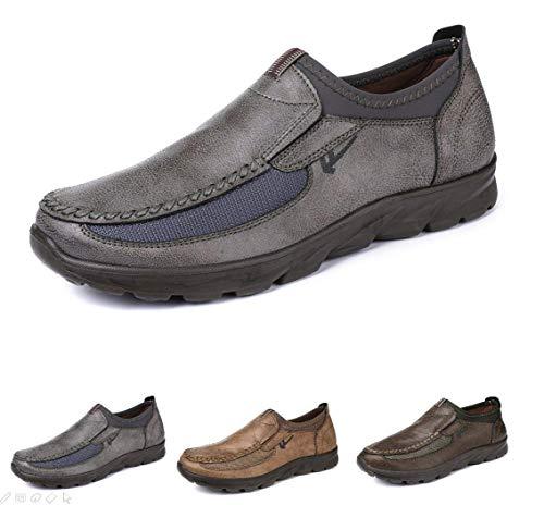 gracosy Herren Leder Freizeitschuhe Mokassin, Flache Loafers Schuhe Halbschuhe Boots Freizeitschuhe, Grau-uk Lager, 44 EU (Herstellergröße: 270)