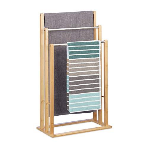 Relaxdays Handtuchhalter stehend mit 3 Handtuchstangen, Handtuchständer 3-armig für Bad, Bambus, HBT: 84x48x26 cm, natur (Freistehend Handtuchhalter)