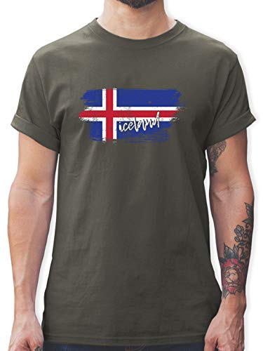 Handball WM 2019 - Island Vintage - 3XL - Dunkelgrau - L190 - Tshirt Herren und Männer T-Shirts