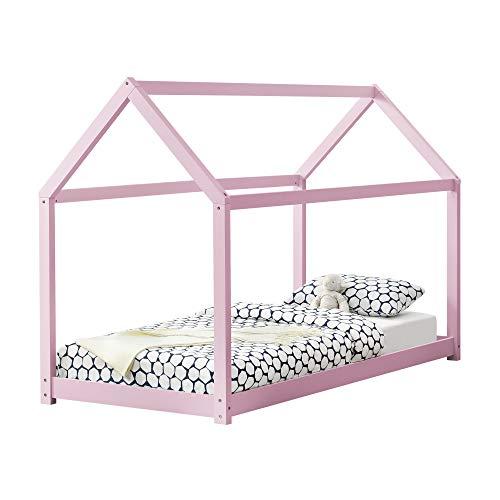 [en.casa] Lit Enfant Design Maison Cadre Structure Lit Bois Blanc Cabane 206 x 98 x 142 cm Rose