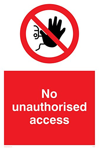 "Preisvergleich Produktbild Viking Signs PA5590-A4P-1M Schild""No Unauthorised Access"",  1 mm halbstarrer Kunststoff,  300 mm H x 200 mm B"