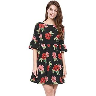 Allegra K Damen U Neck Trompetenärmel Blumen Minikleid Kleid Schwarz M (EU 40)