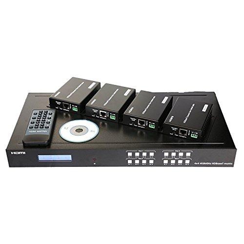 Sisthirth ProAV HDBaseT HDMI 2.0 HDCP 2.2 4K 4X4 HDMI Matrix Extender Switcher mit 4 POE-Empfänger über Single Cat5e/6 Kabel unterstützt Ultra HD 60Hz @ 4Kx2K