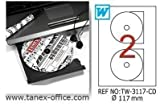 TANEX TW-3117 transparente DVD/CD/Blu-ray Multimedia Etiketten 117 mm 25 Bl. A4