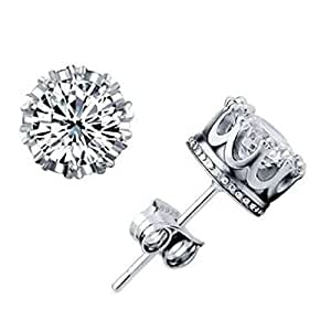Arisidh White Crystal Stone Crown Design 92.5 Pure Sterling Silver Stud Earring for Men Women Girls and Boys