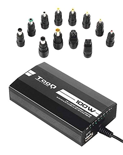 Foto de TooQ TQLC-100BS01M - Cargador adaptador universal  de 100 W para ordenador portatil, (3 en 1, casa-coche-avion) Salida USB para cargar dispositivos, PFC activo incorporado, Multitensión de salida 12V 15V 16V 18V 19V 20V 22V 24V 5A(MAX) 100W USB: DC 5V 1A(