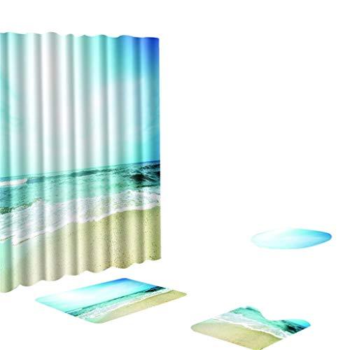 Kontur-badezimmer Teppich (4 stücke bad duschvorhang teppich matte set set strand wandkunst muster wasserdicht duschvorhang rutschfeste kontur teppich toilettendeckel abdeckung und bad matte für badezimmer dekor)