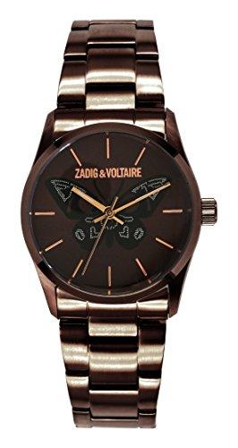 Zadig & Voltaire  - Reloj de cuarzo para mujer, correa de acero inoxidable color marrón