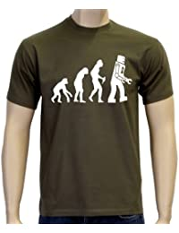 Coole-Fun-T-Shirts Herren T-Shirt Robot Evolution Big Bang Theory!
